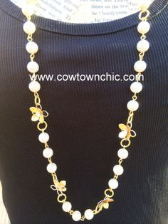 Dainty Pearl & Flower Necklace #longnecklace #long #necklace #pearl