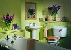 Small Bathroom Design Yellowish Green With Purple Accents