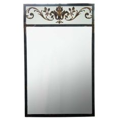 French Vintage Steel Framed Verre Eglomise Wall Mirror