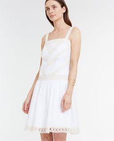 Embroidered Drop Waist Dress   Ann Taylor