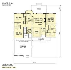 Plan of the Week Under 2500 sq ft | The Jellicoe house plan 752! 1488 sq ft | 3 Beds | 2 Baths Gables with decorative wood brackets provide craftsman detail to the exterior of this modest bungalow, while an open floor plan with split bedrooms maximizes space and privacy. #wedesigndreams #smallhouseplan #countryhomeplan Bungalow House Plans, Bungalow House Design, Cottage House Plans, Cottage Homes, House Floor Plans, Cheap House Plans, Unique Small House Plans, Low Budget House, One Story Homes