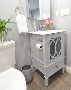 Simpli Home Paige Single Vanity with Marble Top. Gray bathroom vanity