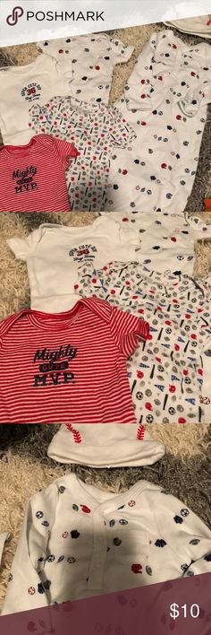 "Sports theme newborn lot Newborn size lot, includes 4 onesies, 1 gown, and a baseball ""cap"" Carter's Other"