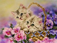 Spring Kittens In A Basket (221 pieces)