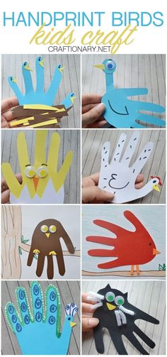 Handprint animal paper birds craft ideas for kids has seven crafty handprint birds that require construction paper to make & are every childs best friend. Paper Animal Crafts, Paper Animals, Bird Crafts, Paper Crafts, Garden Crafts For Kids, Easy Crafts For Kids, Toddler Crafts, Butterfly Feeder, Peacock Crafts
