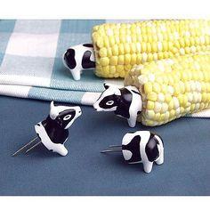 Cow Corn Holders - 4 Pairs