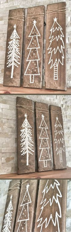 Rustic White Wooden Christmas Tree Signs - 3 Piece Set, Rustic Christmas Decor, Christmas Decorations, Christmas Mantle Decor, Farmhouse Christmas Decor, Rustic Holiday Decor, Rustic Farmhouse, Christmas Signs, Distressed Burlap Christmas Decor #ad