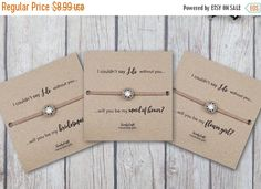 Offer Custom Bridesmaid Bracelets - bridesmaid gifts cheap - Bridal Party Gifts - Rhinestone Bracelet - Friendship Bracelet - gifts under 10 by SwankyCrafts