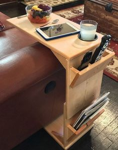 This adjustable height, handmade wooden couch tray table is a highly functional piece of furniture for the person for whom convenience is very important. Whether you are the type that settles comfortably in front of the tv or someone who wants to work on their laptop on their sofa, #WoodworkingTips #BestWoodworkingTvShows #homemadesofacouch