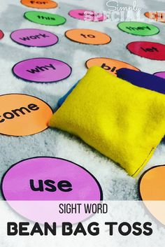 Need an engaging sight word activity center? This bean bag toss game is differentiated by color and will get kids excited to WORK! Kindergarten Sight Word Games, Teaching Vocabulary Activities, Phonics Games Year 1, Kindergarten Literacy Activities, Fun Phonics Activities, Color Word Activities, Name Writing Activities, Learning Sight Words, Addition Activities