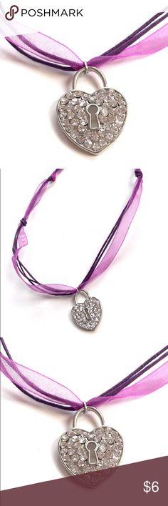Purple crystal choker Adorable adjustable purple crystal locket heart choker Purple Jewelry Necklaces