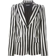 Dolce & Gabbana striped blazer (2,296 CAD) ❤ liked on Polyvore featuring outerwear, jackets, blazers, blazer, coats & jackets, takit, black, black striped jacket, stripe jacket and long sleeve blazer