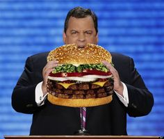 Is Chris Christie Too Fat to be President? ~ Is Chris Christie too fat to be president? Chris Christie, Thing 1, Think Food, Cheap Meals, Celebs, Celebrities, Eating Habits, Hamburger, Presidents