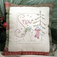 Snow embroidered pillow from Crabapple Hill Studios