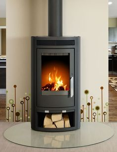 Arctic 5kW curved contemporary modern wood burning stove