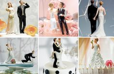 Já virou tradição: bolo de casamento sem os noivinhos no topo não é um verdadeiro bolo de casamento.  www.noivinhostopodebolo.com