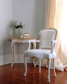 Sitting pretty with the Regent Side Chair and End Table   Louis XV style furniture pieces feature a hand-applied layered white finish and gilded edging   Regent Collection from Ave Home