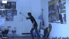 qui-g0njinn:  had2fall2loseitall:  wall-of-meth:  Mitch Lucker escaping from his garage. I dont own the video, just the gif.  If this isn't talent idk what is  Aw Mitch. :(