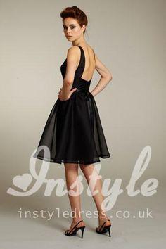 black organza boat neckline short bridesmaid dress