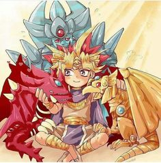 Pharaoh Atem (Yugi) with the chibi forms of the three hidden gods whom protect the country and the palace and are only capable of being summoned by the Pharaoh. Slifer the Sky Dragon, Obelisk the Tormentor and the Winged Dragon of Ra.