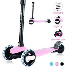 Kids Kick Scooters for Toddlers Boys Girls Ages 2-5 Years Old Extra Wide Deck Adjustable Height Light Up Wheels 3 Wheels Scooters Easy to Learn
