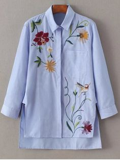 Fall and Spring Floral Shirt Three Long Fashion Embroidered Striped Casual Shirt Cute Blouses, Shirt Blouses, Blouses For Women, Shirt Collar Pattern, Mein Style, Shirt Embroidery, Embroidered Clothes, Floral Stripe, Stripe Top