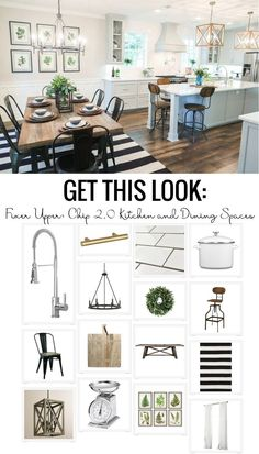 Get the look of the popular Chip 2.0 kitchen and dining spaces from Fixer Upper. Helpful tips to get the look along with sources to achieve the same design in your own home!