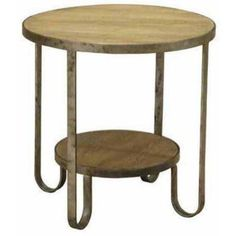 Armen Living Barstow End Table with Gunmetal Frame, Beige