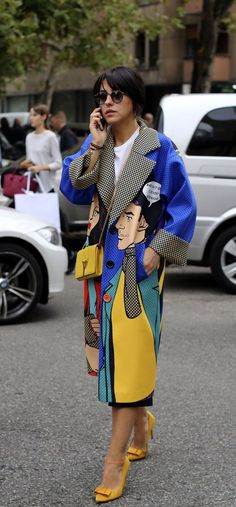 Wrapped up in pop art, street style during Milan Fashion Week, Spring 2016 in October 2015.  Photo: Lee Oliveira/The New York Times.