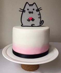 Pusheen cake Gorgeous Cakes, Pretty Cakes, Pusheen Cakes, Pusheen Birthday, Kitten Cake, 1st Bday Cake, Character Cakes, Small Cake, Girl Cakes