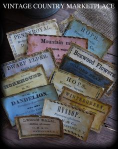 Country Farm Herb Labels Collection of 12 - Vintage E-Labels $8.00