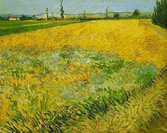 Wheat Field with the Alpilles Foothills in the Background - Vincent van Gogh . Created in Arles in June, Located at Van Gogh Museum Vincent Van Gogh, Monet, Paul Gauguin, Van Gogh Arte, Van Gogh Pinturas, Van Gogh Paintings, Artwork Paintings, Wheat Fields, Storm Clouds