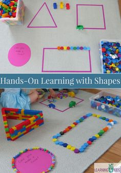 On Learning Shapes Activities Hands on learning with basic shapes. Lots of fun and motivating ideas for kids!Hands on learning with basic shapes. Lots of fun and motivating ideas for kids! Preschool Learning, Kindergarten Math, Toddler Activities, Preschool Activities, Preschool Shapes, Shape Activities For Preschoolers, Colour Activities Eyfs, 2d Shapes Activities, Early Learning Activities