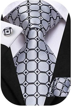Silk Tie Set Color: Grey and Black Length, Width Matching cufflinks and pocket square Sharp Dressed Man, Well Dressed Men, Tie A Necktie, Shirt And Tie Combinations, 3d Video, Pink Ties, How To Look Handsome, Teal And Grey, Wedding Ties