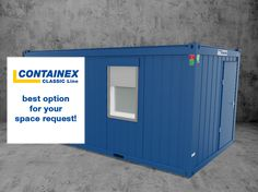 |ProductInformation| As single cabin for temporary request, modular school solution, construction office or even showroom - Discover our true all-rounder, the CONTAINEX CLASSIC Line⭐️! #CONTAINEX #CLASSICLine #cabins #all-rounder Your Space, Cabins, Showroom, Line, Garage Doors, Construction, School, Classic, Outdoor Decor