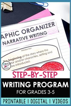 This writing bundle has printable and digital resources as well as 84 mini-lesson videos! It is a full writing program for Grades 3-5. Units are scaffolded through the writing process and include sentence structure, paragraph writing, narrative writing, opinion writing, and informative writing. You will find original mentor text, modeling, practice, scripted lesson plans, interactive notes, self-check slides, quizzes, checklists, rubrics, forms and so much more. Click to learn more! Essay Writing Skills, Paragraph Writing, Narrative Writing, Informational Writing, Opinion Writing, Persuasive Writing, Writing Lessons, Teaching Writing, Writing Prompts