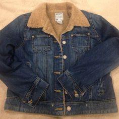 Denim jacket Cozy line jean jacket. Side pockets, two upper pockets. A little bit of a distress look. Great condition Old Navy Jackets & Coats Jean Jackets