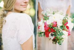 Ooh! Or melon-red and white! Pretty greenery.    Photo by Jen Huang (jenhuangblog.com)    Flowers by Kelly Kaufman Design