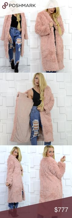 💥🔻LAST 1🔺️💥 BLUSH PINK FAUX FUR COAT Boutique item Price is firm  OK where do I start with this fabulous coat?!? This semi-oversized coat featured in the seasons HOTTEST color Blush pink is so SOFT & COZY! Want to stay warm this season? This blush pink faux fur coat is lined with ultra soft velvet-like & has everyone's favorite feature, POCKETS! Don't miss out on this piece.  I am a size small, Modeling a small, True to size for style Shell Coating 100% polyurethane Shell backing 100%…