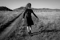 Black and White Fashion Photograph Julia Hafstrom in Marfa Black Dress Photograph : Thom Jackson