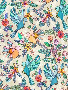 A happy summer pattern of beautiful blossoms and blooms with little sweet birds in flight. Textured and detailed, in pretty rainbow pastel shades.