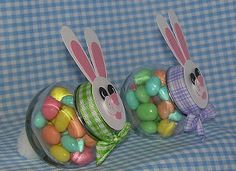 Beth-A-Palooza: Easter Bunny Jars.cute gift for teachers Easter Projects, Easter Crafts, Holiday Crafts, Holiday Fun, Easter Ideas, Bunny Crafts, Easter Decor, Holiday Ideas, Easter Party