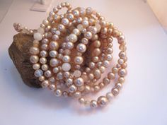 Vintage Glass Pearl Bead Garland Beaded by LaReineDesCharmes