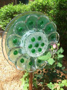 Garden Glass Flower, Suncatcher, Garden Art, Vintage Glass, Recycled, Cottage Garden, Country Garden SALE/ MARKDOWN by ModernCountryShop on Etsy https://www.etsy.com/listing/190253491/garden-glass-flower-suncatcher-garden