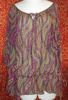 PURE ENERGY sheer purple paisley bohemian blouse sz 4 ( 4x 28/30W) (T2205C5) #PUREENERGY #Blouse #Casual