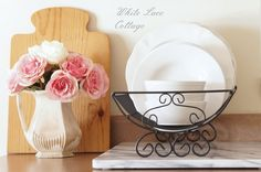 French Country Dish Drying Rack - White Lace Cottage