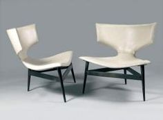 André Arbus - Bronze and leather lounge chairs