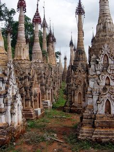 Kakku, Myanmar. travel deep into the Shan hills to the hidden 'forest of temples' at Kakku. More than 5,000 stupas from the 11th century rise high above a plain. Wander amid these mysterious stupas, far from the tourist trail.