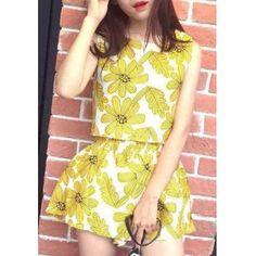 Fresco Collar Estilo Scoop Impresión floral Cultivo Twinset Top + elástico de la cintura A-Line cortos para mujeres para Vender - La Tienda En Online IGOGO.ES