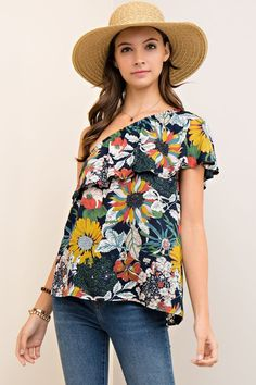 Floral print one-shoulder top double layer ruffle